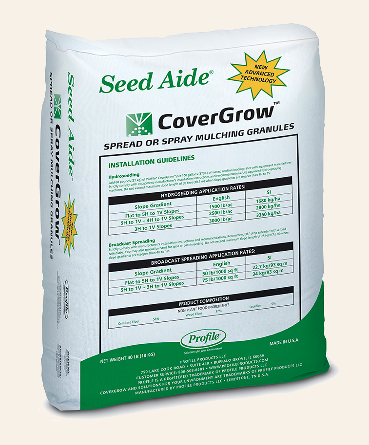 Covergrow™ spread or spray mulching granules turface